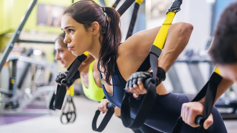 Functional Virtual fitness class with TRX suspension straps