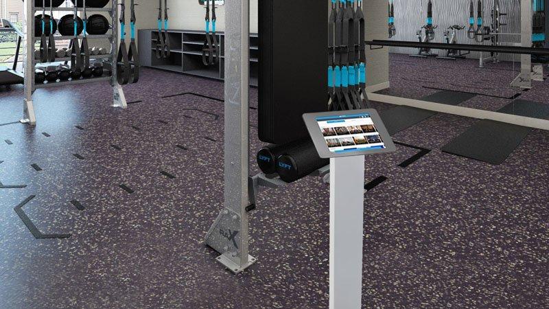 Interactive virtual exercise kiosk in gym